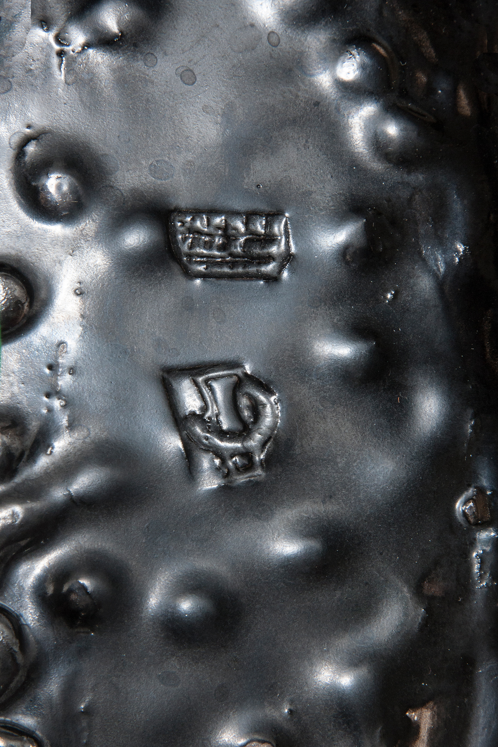 Roger Capron black ceramic organic shaped bowl