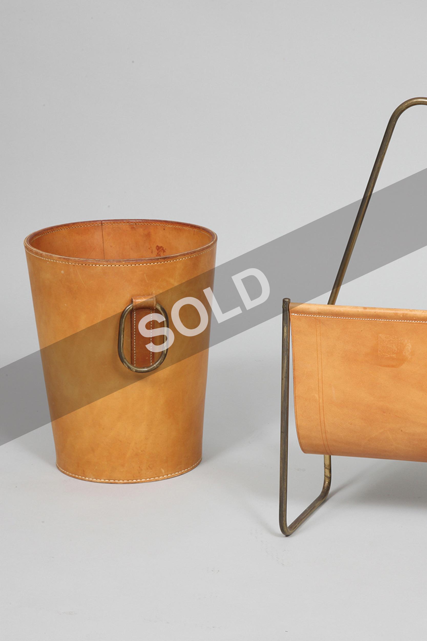 Carl Aubock waste bin and magazine rack (sold)