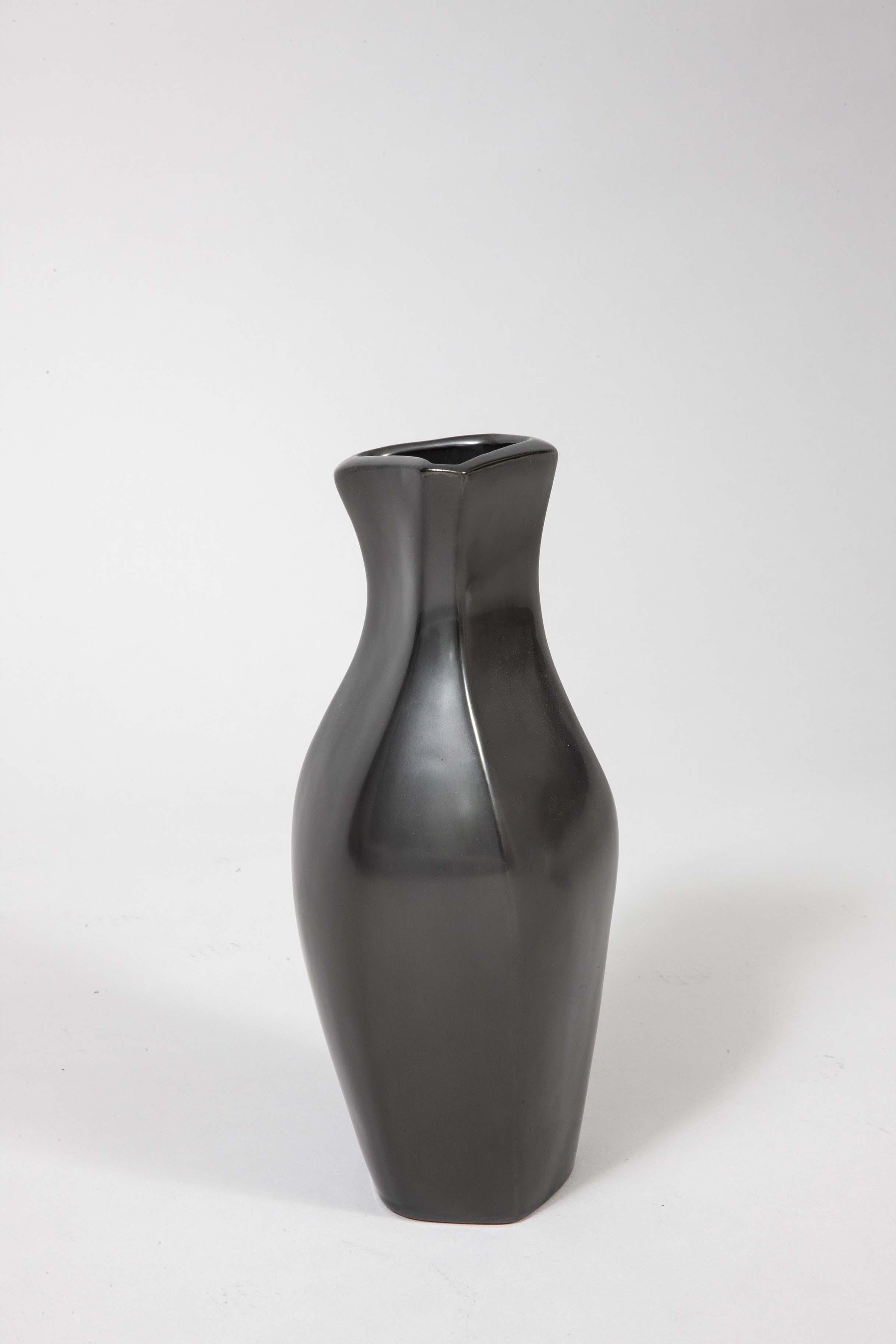 Georges Jouve black ceramic vase pitcher