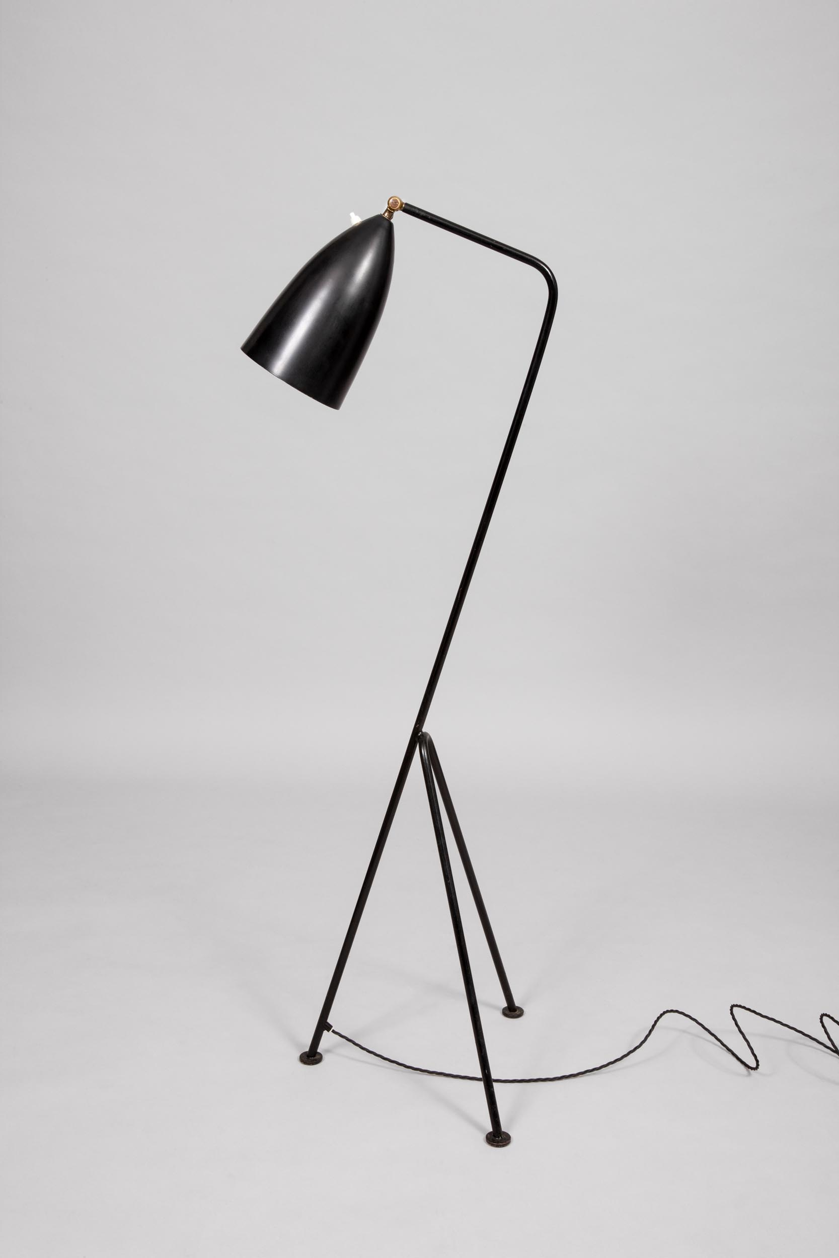 Greta Grossman black painted metal lamp Sweden 1947
