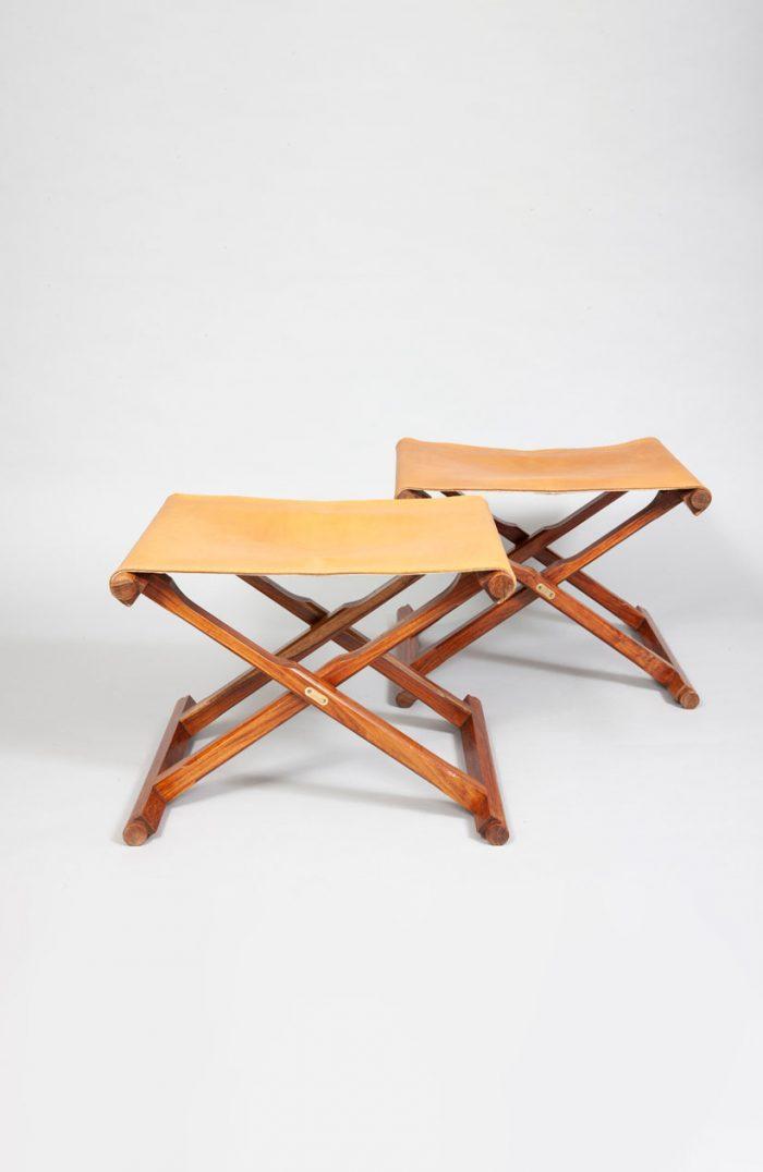 Mogens Lassen pair of teak, brass and original leather folding stools