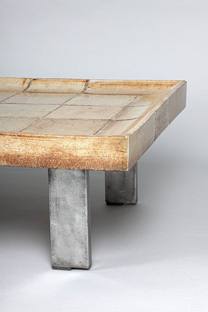 Roger Capron ceramic and steel coffee table