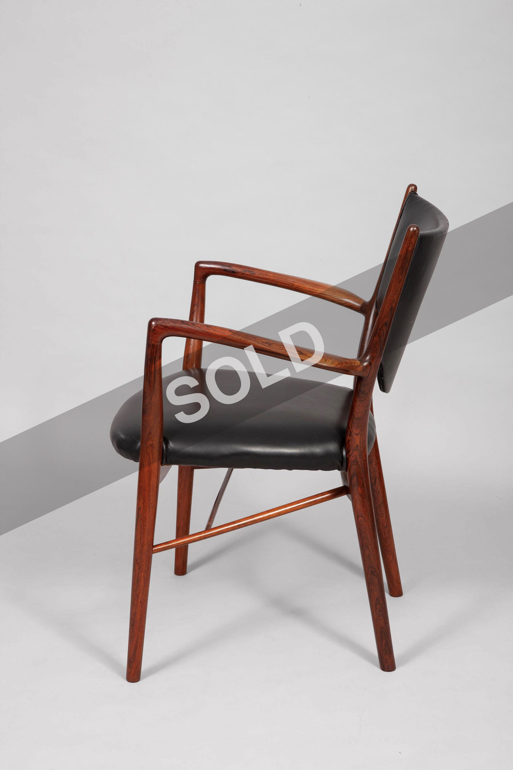 Finn Juhl chair in leather and rosewood, Danish, 1946