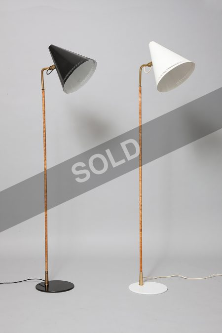 Paavo Tynell painted metal cane and brass lamps.jpg