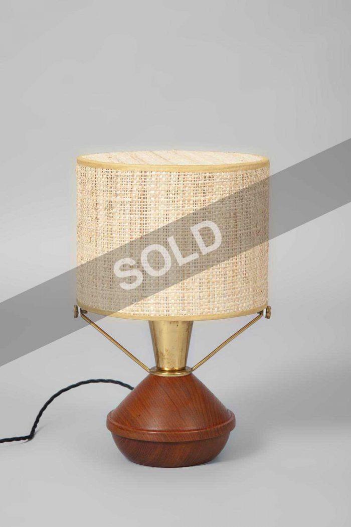 Bertel Gardberg teak and brass lamp